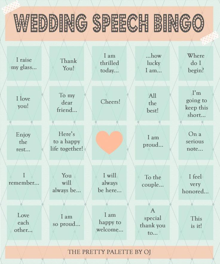 Wife of a Gentle Giant: Wedding Speech Bingo