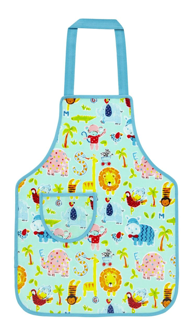 With lots of different animals...our Zoo apron is perfect for keeping kids clean when they are in the kitchen! #zoo