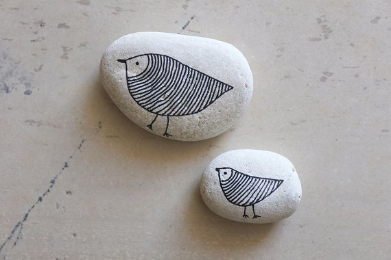 Mother and Child - Handpainted Decorative Pebbles - Hand-drawn Birds on Sea Rocks - Pebble Art