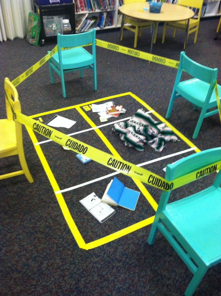 Stage a mystery in your library complete with a full crime scene! --introduction to mystery and narrative writing unit