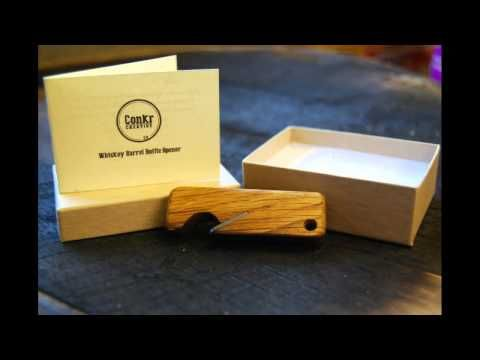 Conkr Creative crowdfunding pitch - Bottle openers, cufflinks, and raw barrel slices on offer. Everything gift boxes ready for #Christmas #crowdfunding #kickstarter #indiegogo #mens #gifts #gift #beer # whiskey