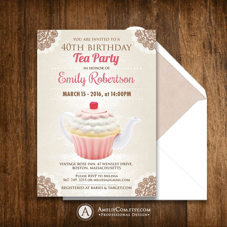 Fall Adult Birthday Tea Party Invitation Printable Autumn Birthday Party Invite Flyer INSTANT DOWNLOAD Retro Pink Teaport & Lace - Editable
