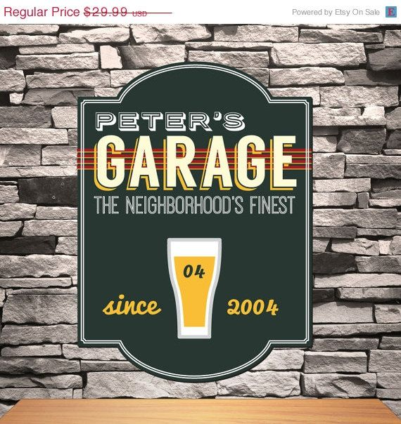 On Sale Personalized Men's Garage Bar Sign  by RCPersonalizedGifts