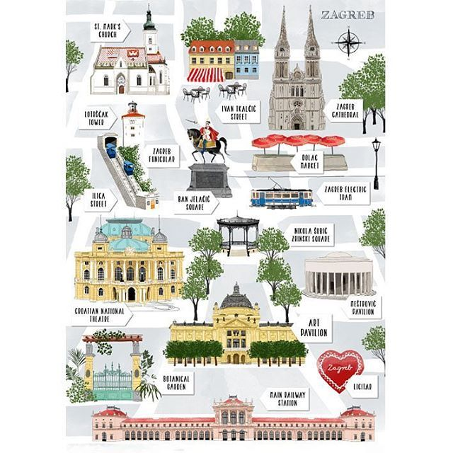 Souvenir postcard- map of Zagreb #monument #facade #citymap #cityillustration #postcard #printdesign #illustration #zagreb #croatia