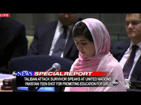 Girl Shot in Head by Taliban, Speaks at UN: Malala Yousafzai United Nations Speech 2013 - YouTube