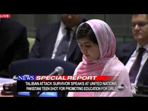 Malala Yousafzai Shot in Head by Taliban, Speaks at UN: Malala Yousafzai United Nations Speech. Pakistani Malala Yousafzai celebrates her 16th birthday on day she speaks to United Nations' student delegates.(2013)