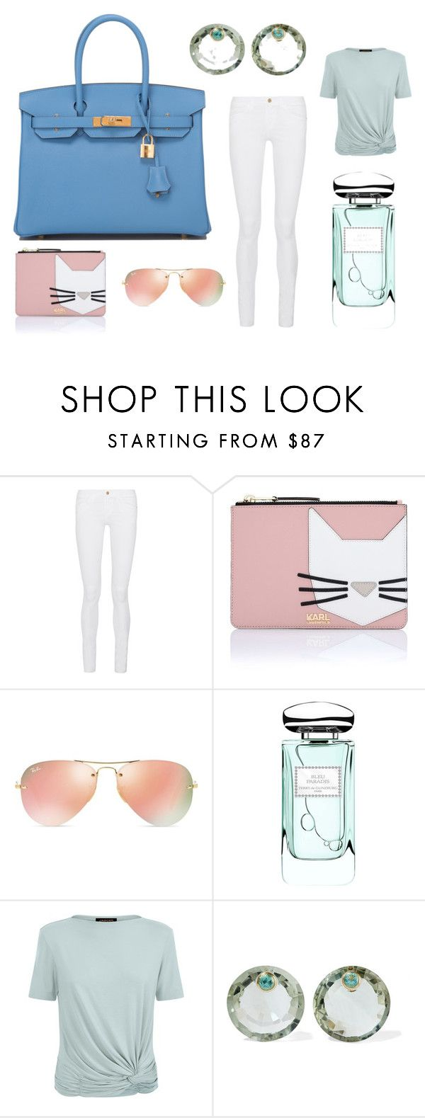 """Blue Paradise"" by madavecouture on Polyvore featuring Hermès, Frame Denim, Karl Lagerfeld, Ray-Ban, By Terry, Jaeger and Marie Hélène de Taillac"