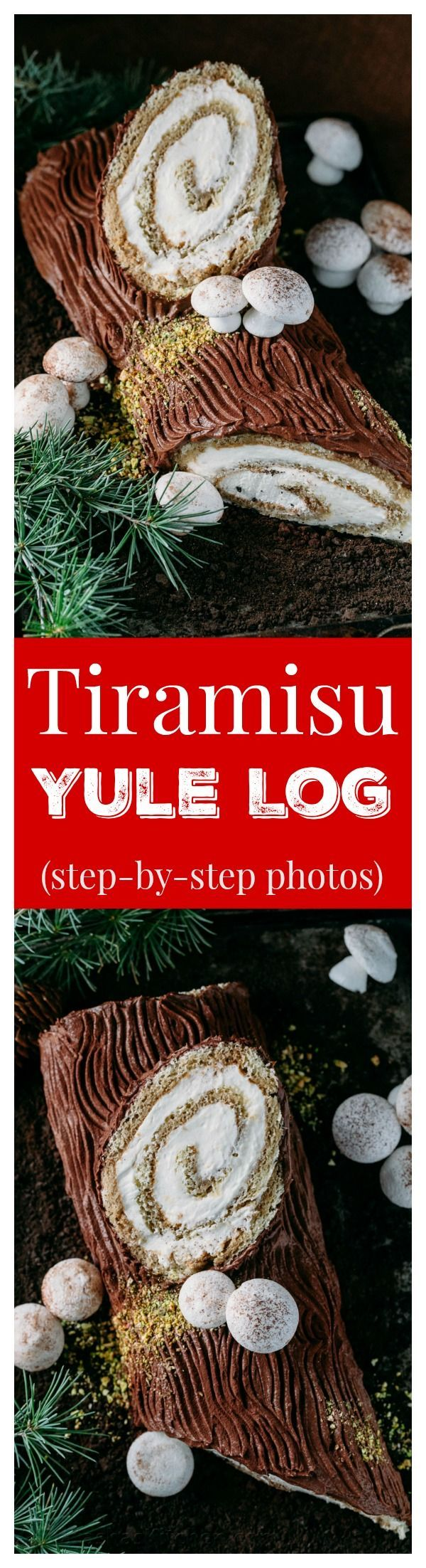 There's nothing more impressive than bringing a log to Christmas dinner; a Tiramisu Yule Log Cake that is! Full photo tutorial for tiramisu yule log cake.:
