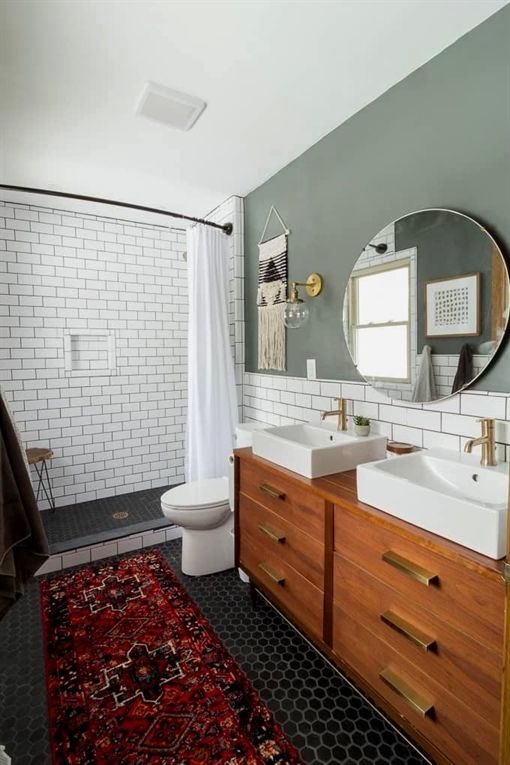 modern bathroom with subway tile reveal bright green door rh pinterest com
