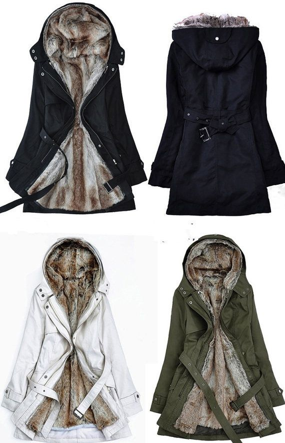 White Parka Jacket With Faux Fur Lining For Women-White Winter Jacket For Women on Luulla
