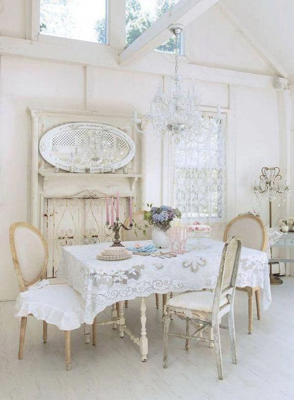 elegant shabby chic dining room with lace table cloth and vintage rh pinterest com