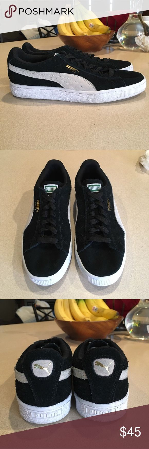 Black Puma Suede's Gently worn, great condition !!  Size: Women's 8 Retail price: $65 Puma Shoes