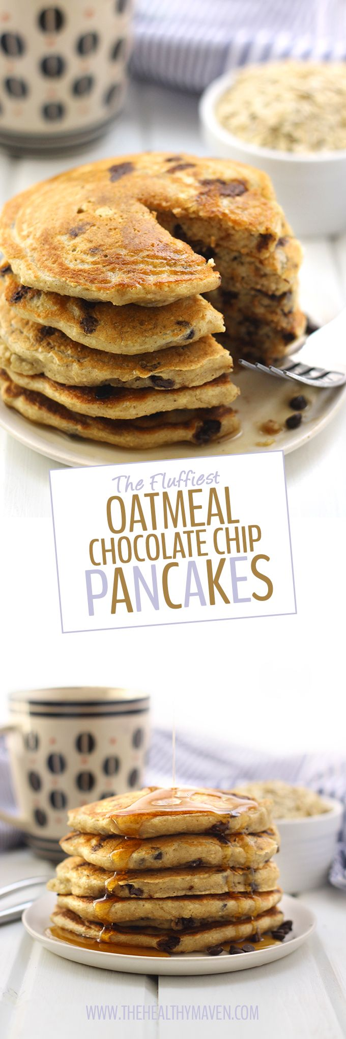 Oatmeal meets pancakes with The Fluffiest Oatmeal Chocolate Chip Pancakes. These pancakes are gluten-free, refined sugar-free and high in protein but are the most delicious, fluffiest pancakes you will ever eat. They will quickly become a weekend brunch recipe staple!