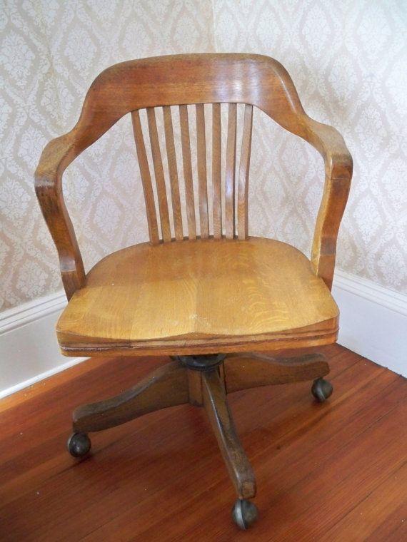 (Vintage Solid Oak American Bankeru0027s Chair: C 1940s, Strikingly Comfortable  | Etsy