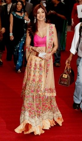 Get cheerful applaud from the surrounding folks just like Shilpa Shetty did on the event of London Premier Peach by wearing our well crafted #Blouse and #Lehenga