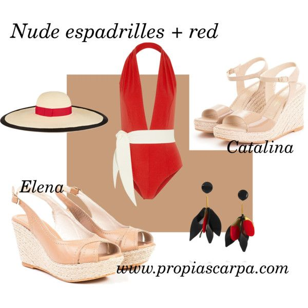 Propia Scarpa nude espadrilles + red by aliciainlondonland on Polyvore featuring moda, Lisa Marie Fernandez, Marni and Eugenia Kim