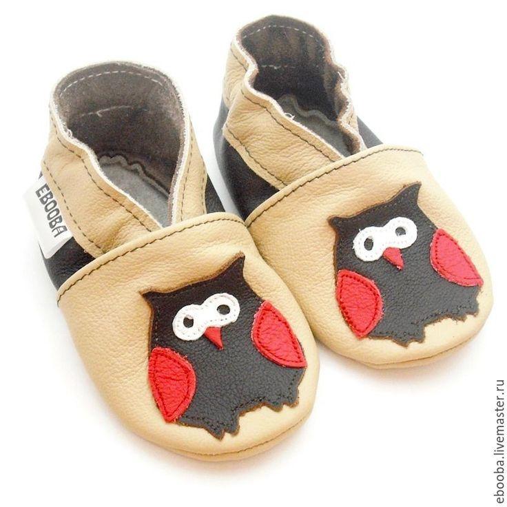 Купить Кожаные чешки тапочки сова тёмно-коричневая на бежевом ebooba 54 - детская обувь