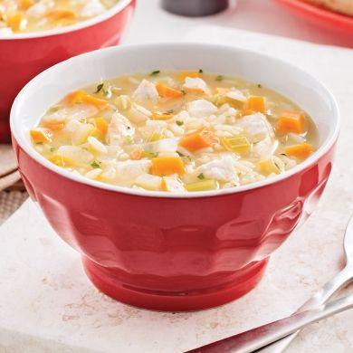 Soupe au poulet rôti et riz - Entrées et soupes - Recettes 5-15 - Recettes express 5/15 - Pratico Pratiques