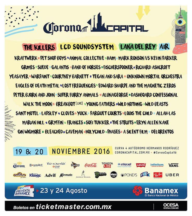 Horarios: Festival Corona Capital 2016 19 y 20 de... |