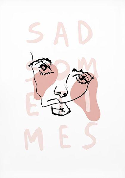 Sad Sometimes #AFF #AFFstyle #fashion #sad #sometimes #love #illustration #itsokay #pink #fashion #drawing