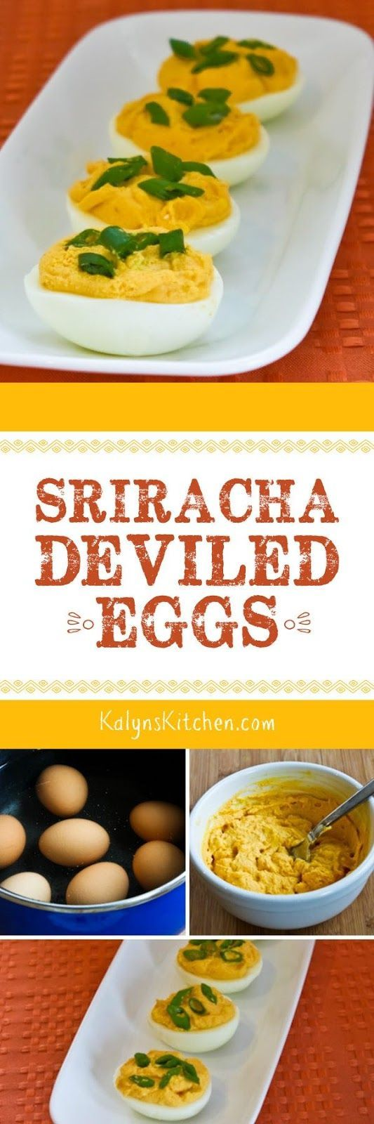 I  love deviled eggs and these Sriracha Deviled Eggs are one of my favorites. This post also has Ten More Interesting Ideas for Deviled Eggs. [found on KalynsKitchen.com]