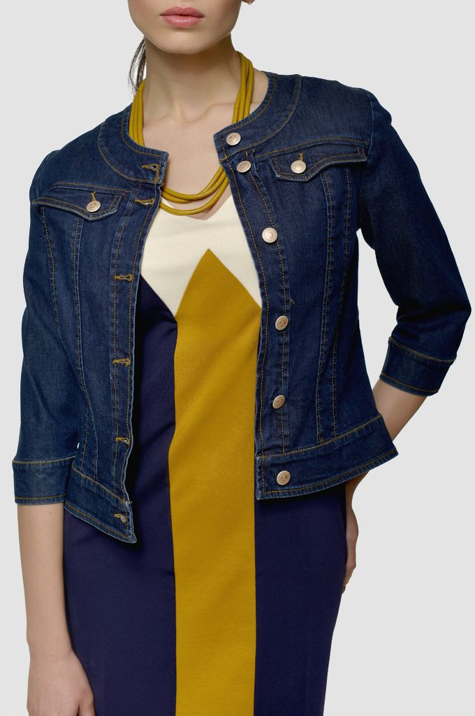 Sarah Lawrence - denim jacket, colorblock dress.