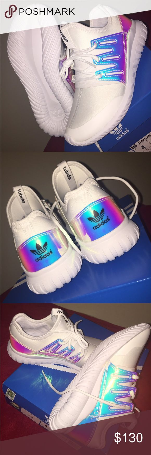 Adidas Tubular Radial K White and holographic adidas tubular. Brand new, never worn. Very comfortable and hard to find. I'm selling these because they are to small for me :( But still super cute! I am listing these as a 6 because a 6 in women's is a 4 in boys. Comes with the box. 100% authentic. Adidas Shoes Sneakers