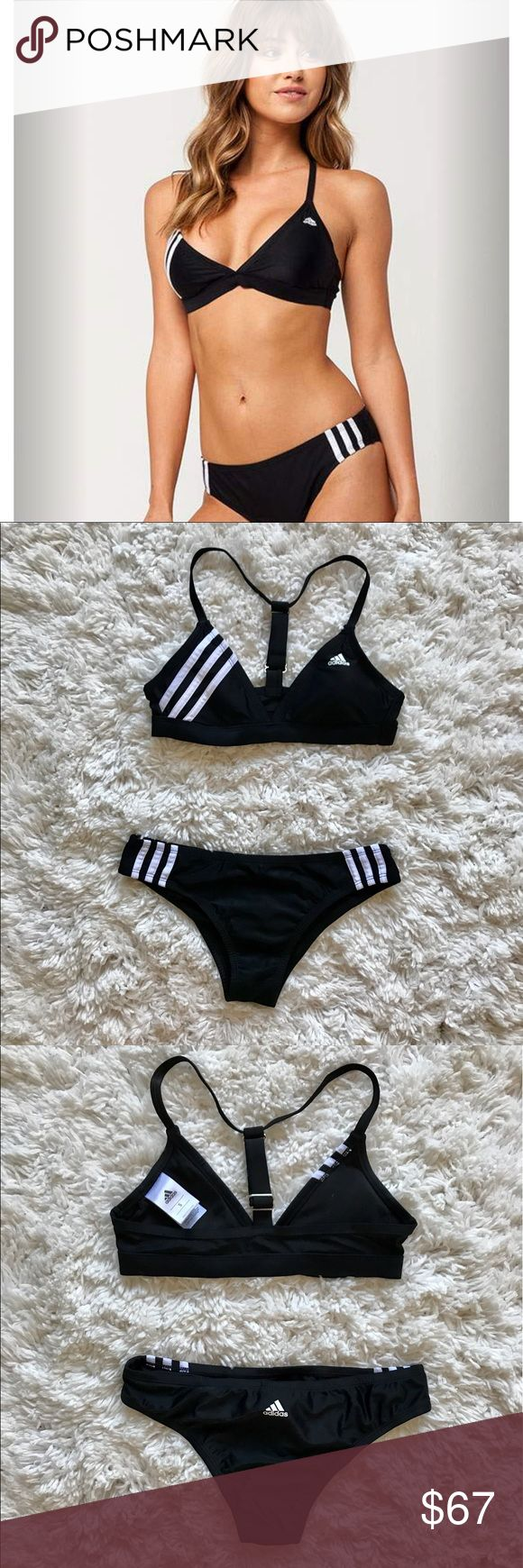 NWOT Black ADIDAS Swimsuit This trendy and sporty two-piece will be your new go to for summer. It has never been worn or washed. The suit itself is so new that it's still available on Tilly's website for $95 which is where I bought it. Both pieces are size small and will be sold together. Offers are always welcomed :) adidas Swim Bikinis