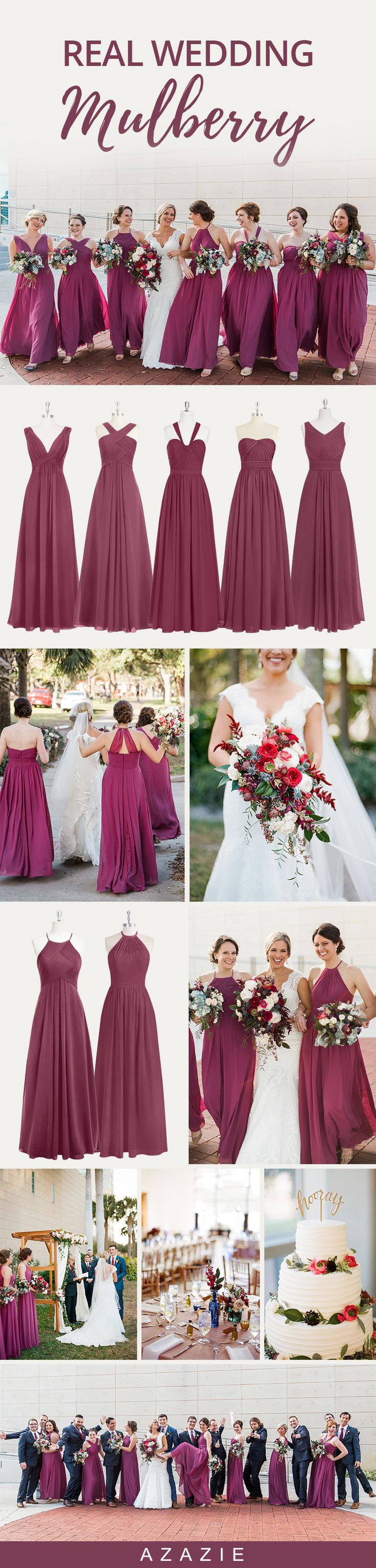 This gorgeous Mulberry shade is perfect for any bridal party! Check it out in over 100 styles at Azazie. Wedding tip: Order dress samples to try on our styles before you buy! Emily Katharine Photography; Venue: Museum of Fine Arts St Pete;Planning and coordination: Flawless Fetes;Videographer:Sunshine City Films;Hair:Denise Burkle; Makeup: Dena Miaoulis; Bridal Gown: CC's Bridal Boutique;Groom's Attire: Suit Supply; Groomsmen Attire: Josesph A Banks; Groomsmen ties: The Tie Bar;