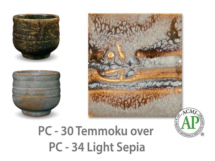 AMACO Potter's Choice layered glazes PC-34 Light Sepia and PC-30 Temmoku.