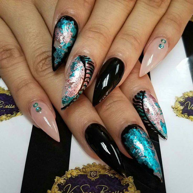 Foil nail art and freehand stripes, turquoise black and nude pink