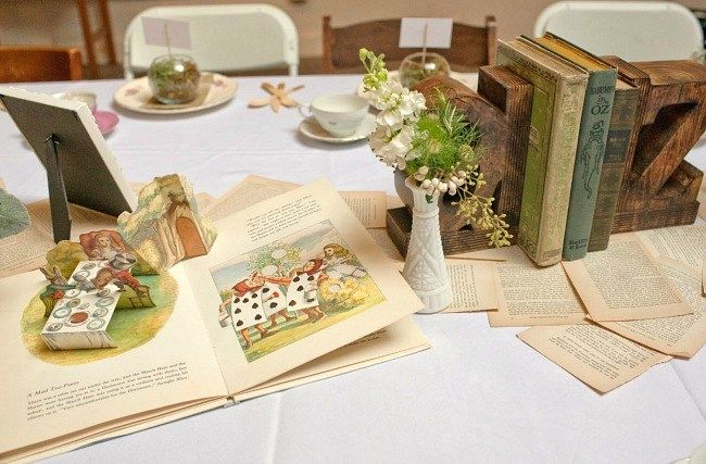 Story book themed baby shower by Hunter & Gather decor & prop rentals / photographer Estelle Choe: Book Baby Shower Decorations, Storybook Baby Shower Theme, Storybook Babyshower, Book Pages, Baby Shower Storybook, Book Theme Baby Shower, Book Themed Baby Showers, Book Centerpieces Baby Shower