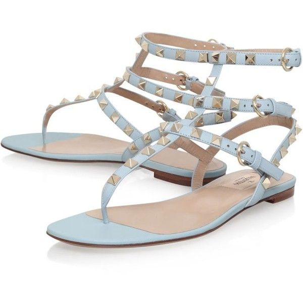 Valentino Rockstud Gladiator Sandal Pale Blue | Harrods ❤ liked on Polyvore featuring shoes, sandals, greek sandals, roman sandals, gladiator sandals, gladiator sandals shoes and pale blue shoes