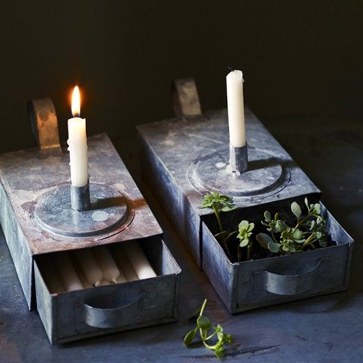 Thora Rustic Candle Holder, Zinc
