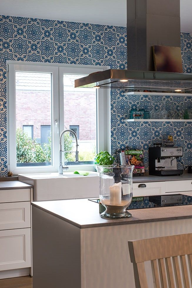 White And Blue Patterned Cement Tiles On Kitchen Wall From Mosaic
