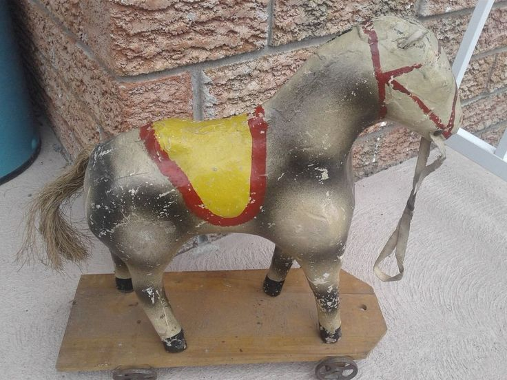 Antique  Paper Mache Pull Toy Horse