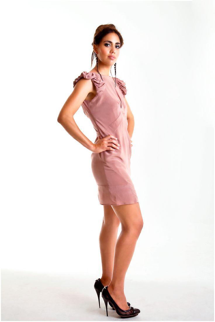 Wing Sleeve silk dress