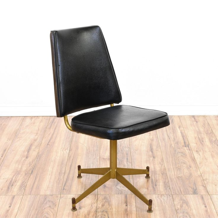Mid Century Modern Black Vinyl Chair | Loveseat Vintage Furniture San Diego  U0026 Los Angeles