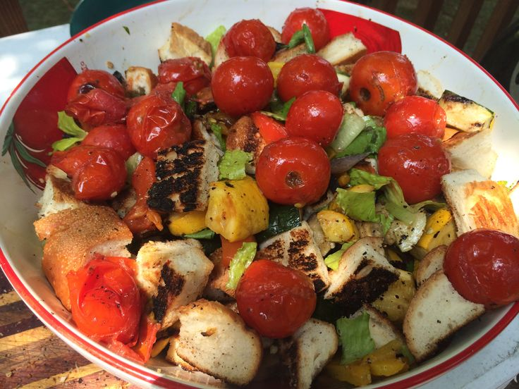 Vegetable Grill Tips and Grilled Panzanella Salad- delish! #vegetarian ...