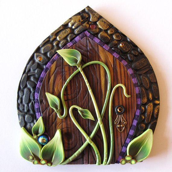 Art Nouveau Fairy Door Pixie Portal Vine Fairy Door by Claybykim