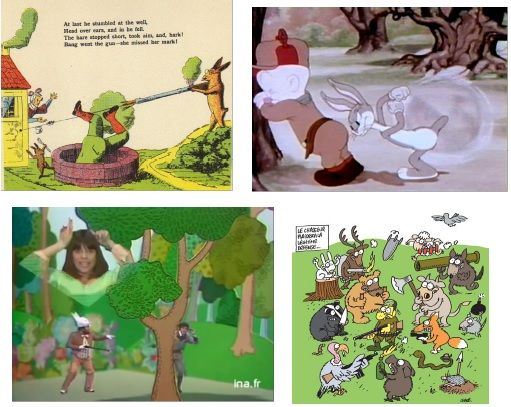 """From the left to the right: Heinrich Hoffmann, """"Die Geschichte von dem wilden Jäger"""" (« The Story of the Wild Huntsman »), in Der Struwwelpeter (Shockheaded Peter), 1845; Tex Avery, A Wild Hare, L. Schlesinger Studios, 8 minutes, 1940; Chantal Goya, Marion Sarraut (dir.), Un Lapin (A Rabbit), Télévision Française 1, 2:44 minutes, February the 11th 1978; Charb, « Le Chasseur plaidera la légitime défense » (« The Hunter will plead self-defence »), in Charlie Hebdo, 2013 (?)"""