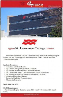 Wish to study abroad? Choose St. Lawrence College , Canada. Want to know more? Get in touch with Riya Education. Visit our website for contact details. #overseas #canada #St Lawrence College