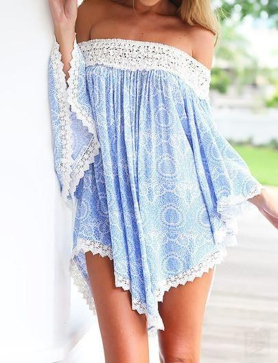 Blue Off the Shoulder Lace Floral Blouse - Crystalline