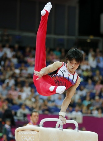 Kohei Uchimura (Japan) on pommel horse at the 2012 London Olympics