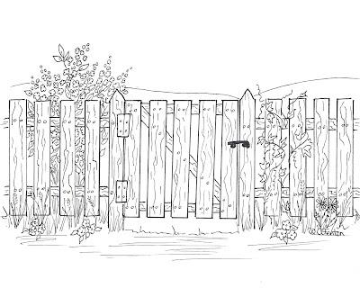free fence digi stamp Digital Stamps Flowers/Garden