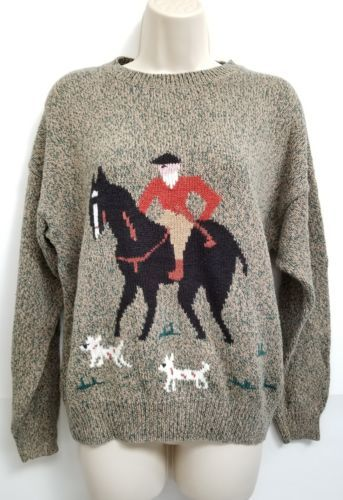 Country Suburbans VTG Sweater Womens L Khaki Olive Knit Horse Equestrian Dogs