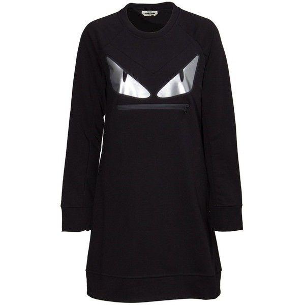 Fendi Bag Bugs Dress ($810) ❤ liked on Polyvore featuring dresses, black, fendi, sleeved dresses and fendi dress