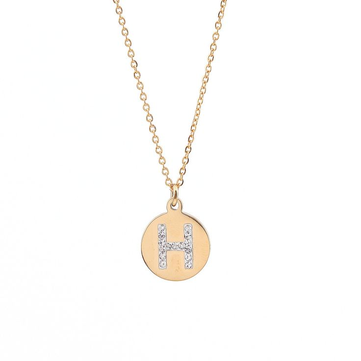 8 mejores imgenes de initial necklace en pinterest collares con initial necklace stainless steel gold filled h initial charms personalized necklace initial aloadofball Gallery