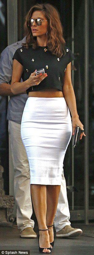 Embellished crop top + pencil skirt !