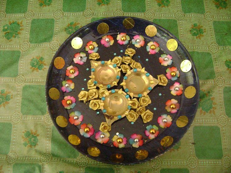 Aarti plates for wedding aarti plates pinterest for Aarti plate decoration